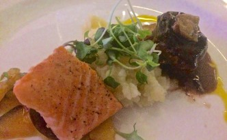 King salmon was complemented by the sweet-chili Asian ratatouille. The ribeye filet was served with a miso-glazed foi gras, smoked potato puree, wild mushrooms, roasted sunchokes and a blueberry demi-glace sauce.